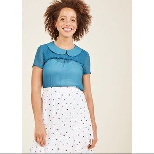 NEW Modcloth Peter Pan collar blue chiffon blouse